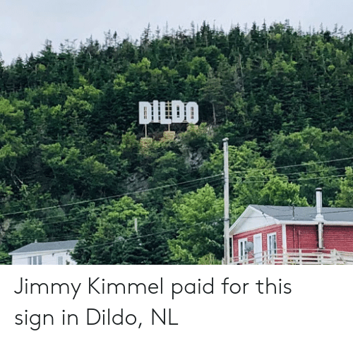 Dildo, Jimmy Kimmel, and Sign In: DILDO Jimmy Kimmel paid for this sign in Dildo, NL