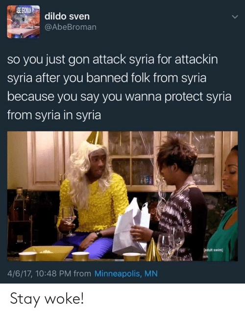 Dildo, Adult Swim, and Minneapolis: dildo sven  AbeBromarn  so you just gon attack syria for attackin  syria after you banned folk from syria  because you say you wanna protect syria  from syria in syria  adult swim  4/6/17, 10:48 PM from Minneapolis, MN Stay woke!