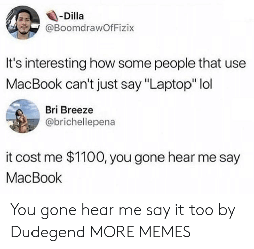 """Dank, Lol, and Memes: -Dilla  @BoomdrawOfFizix  It's interesting how some people that use  MacBook can't just say """"Laptop"""" lol  Bri Breeze  @brichellepena  it cost me $1100, you gone hear me say  MacBook You gone hear me say it too by Dudegend MORE MEMES"""