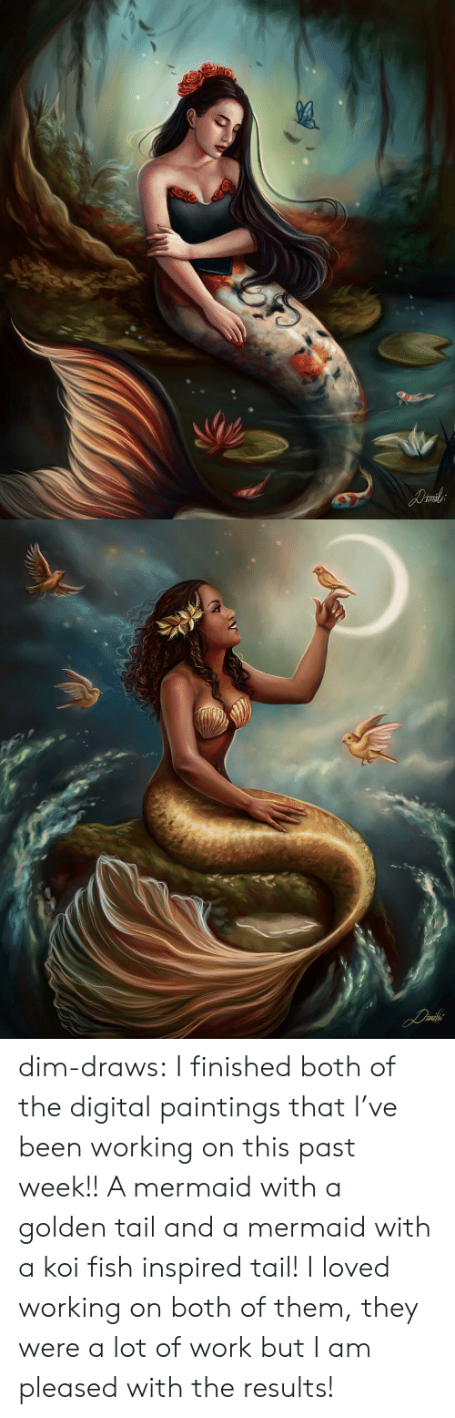 pleased: dim-draws:   I finished both of the digital paintings that I've been working on this  past week!! A mermaid with a golden tail and a mermaid with a koi fish inspired  tail! I loved working on both of them, they were a lot of work but I am  pleased with the results!