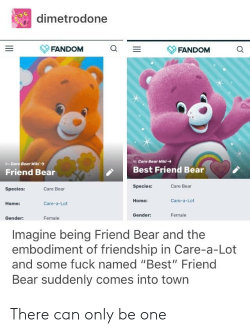 "Best Friend, Bear, and Best: dimetrodone  FANDOM  Q -  YFANDOM  in: Care Bear Wiki-  in Care Bear Wiki  Friend Bear  Best Friend Bear  Species:  Care Bear  Species:  Care Bear  Home:  Care-a-Lot  Home:  Care-a-Lot  Gender:  Female  Gender  Female  Imagine being Friend Bear and the  embodiment of friendship in Care-a-Lot  and some fuck named ""Best"" Friend  Bear suddenly comes into town There can only be one"