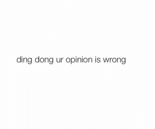Dong, Opinion, and Ding Dong: ding dong ur opinion is wrong