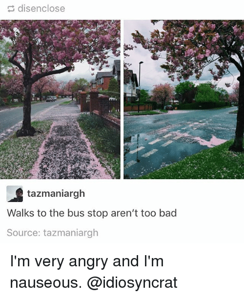 Too Badly: disenclose  tazmaniargh  Walks to the bus stop aren't too bad  Source: tazmaniargh I'm very angry and I'm nauseous. @idiosyncrat