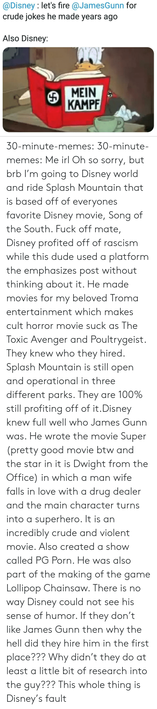 Why The Hell: @Disney : let's fire @JamesGunn for  crude jokes he made years ago  Also Disney:  MEIN  KAMPF 30-minute-memes: 30-minute-memes: Me irl Oh so sorry, but brb I'm going to Disney world and ride Splash Mountain that is based off of everyones favorite Disney movie, Song of the South.  Fuck off mate, Disney profited off of rascism while this dude used a platform the emphasizes post without thinking about it. He made movies for my beloved Troma entertainment which makes cult horror movie suck as The Toxic Avenger and Poultrygeist. They knew who they hired.  Splash Mountain is still open and operational in three different parks. They are 100% still profiting off of it.Disney knew full well who James Gunn was. He wrote the movie Super (pretty good movie btw and the star in it is Dwight from the Office) in which a man wife falls in love with a drug dealer and the main character turns into a superhero. It is an incredibly crude and violent movie. Also created a show called PG Porn. He was also part of the making of the game Lollipop Chainsaw. There is no way Disney could not see his sense of humor. If they don't like James Gunn then why the hell did they hire him in the first place??? Why didn't they do at least a little bit of research into the guy??? This whole thing is Disney's fault