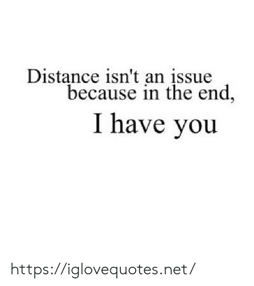in the end: Distance isn't an įssue  because in the end,  I have you https://iglovequotes.net/