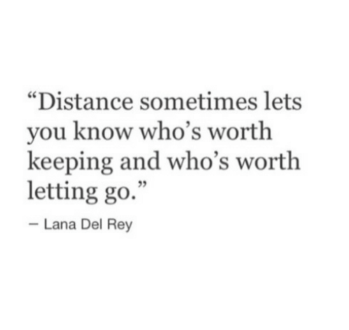 """Letting Go: """"Distance sometimes lets  you know who's worth  keeping and who's worth  letting go.""""  5  Lana Del Rey"""