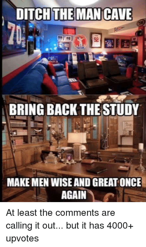Neckbeard Things, Cave, and Bringed: DITCH THE MAN CAVE  BRING BACK THE STUDY  MAKE MEN WISE AND GREAT ONCE  AGAIN At least the comments are calling it out... but it has 4000+ upvotes