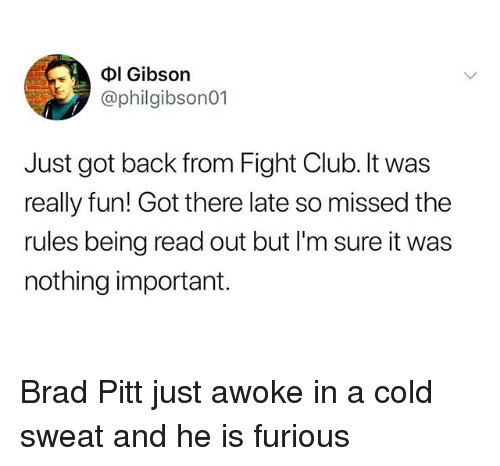 Brad Pitt: Dl Gibson  @philgibson01  Just got back from Fight Club. It was  really fun! Got there late so missed the  rules being read out but l'm sure it was  nothing important. Brad Pitt just awoke in a cold sweat and he is furious