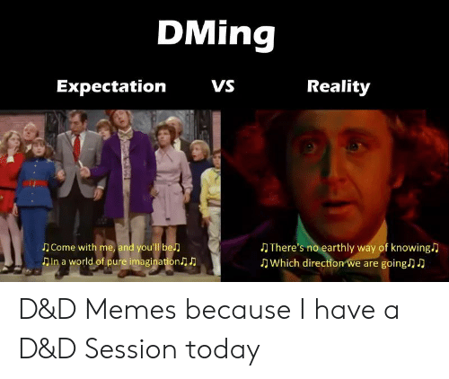 World Of: DMing  VS  Reality  Expectation  Come with me, and you'll be  Din a world of pure imagination  There's no earthly way of knowing  Which direction we are going) D D&D Memes because I have a D&D Session today