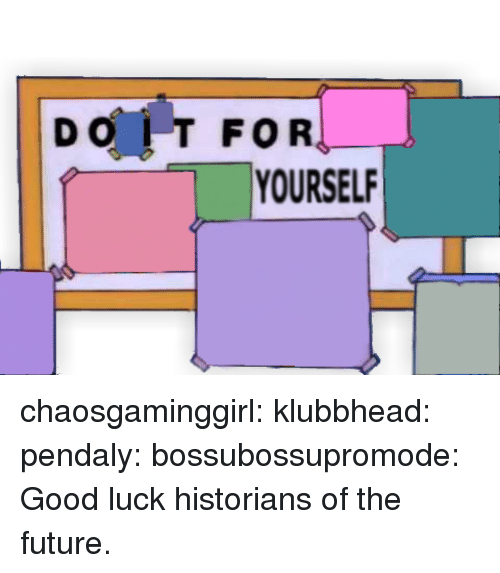 Historians: DO IT FOR  YOURSEL chaosgaminggirl: klubbhead:  pendaly:  bossubossupromode:     Good luck historians of the future.