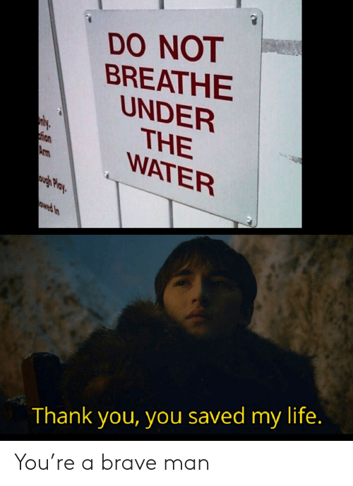 Brave: DO NOT  BREATHE  UNDER  THE  WATER  ly  tion  Arm  wgh Play  owed In  Thank you, you saved my life. You're a brave man