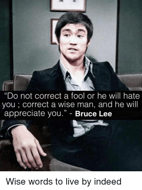 "Appreciate, Bruce Lee, and Indeed: ""Do not correct a fool or he will hate  you; correct a wise man, and he will  appreciate you."" - Bruce Lee Wise words to live by indeed"
