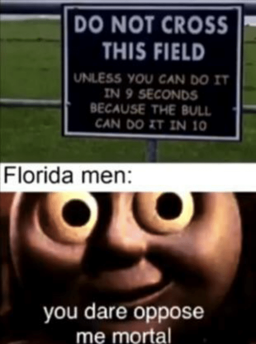 Oppose: DO NOT CROSS  THIS FIELD  UNLESS YOU CAN DO IT  IN 9 SECONDS  BECAUSE THE BULL  CAN DO IT IN 10  Florida men:  you dare oppose  me mortal