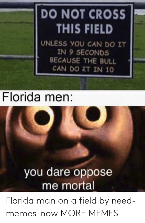 Oppose: DO NOT CROSS  THIS FIELD  UNLESS YOU CAN DO IT  IN 9 SECONDS  BECAUSE THE BULL  CAN DO XT IN 10  Florida men:  you dare oppose  me mortal Florida man on a field by need-memes-now MORE MEMES