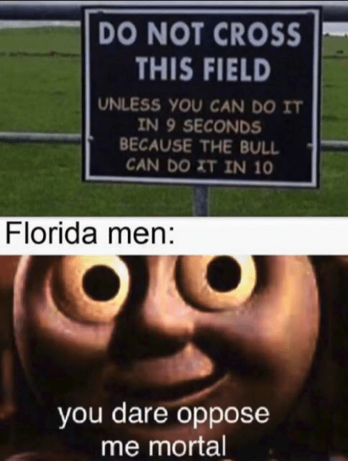 Oppose: DO NOT CROSS  THIS FIELD  UNLESS YOU CAN DO IT  IN 9 SECONDS  BECAUSE THE BULL  CAN DO XT IN 10  Florida men:  you dare oppose  me mortal