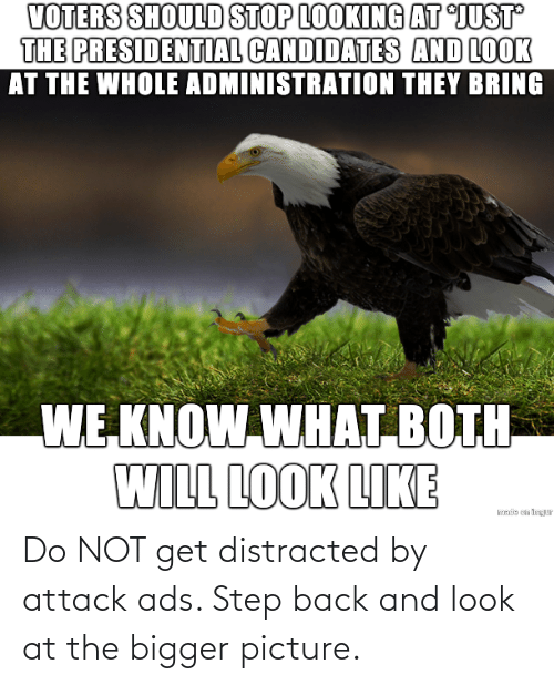 At: Do NOT get distracted by attack ads. Step back and look at the bigger picture.