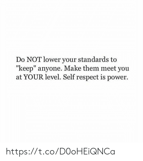 "Memes, Respect, and Power: Do NOT lower your standards to  ""keep"" anyone. Make them meet you  at YOUR level. Self respect is power. https://t.co/D0oHEiQNCa"