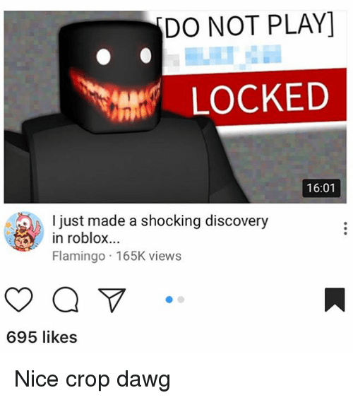 do not play: DO NOT PLAY]  ent LOCKED  16:01  l just made a shocking discovery  in roblox...  Flamingo 165K views  695 likes Nice crop dawg