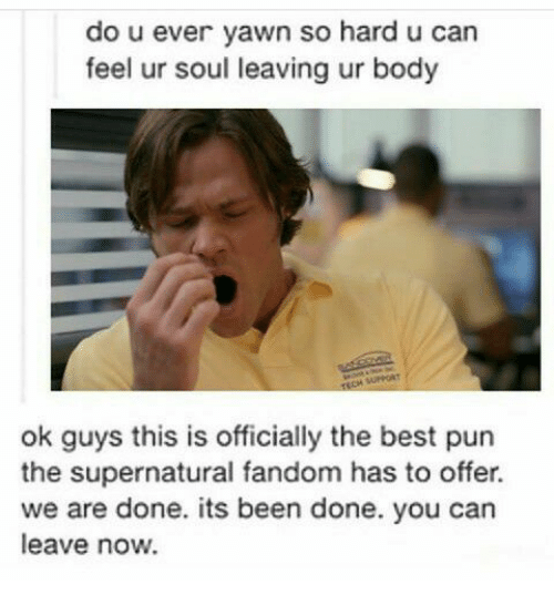 Memes, Puns, and Best Pun: do u ever yawn so hard u can  feel ur soul leaving ur body  ok guys this is officially the best pun  the supernatural fandom has to offer.  we are done. its been done. you can  leave now.