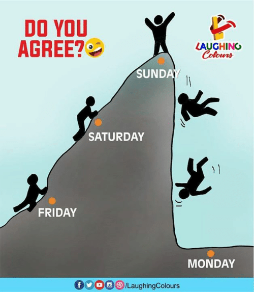 Friday, Monday, and Indianpeoplefacebook: DO YOU  AGREE?  LAUGHING  Colours  SUNDA  SATURDAY  FRIDAY  MONDAY  0900 /LaughingColours