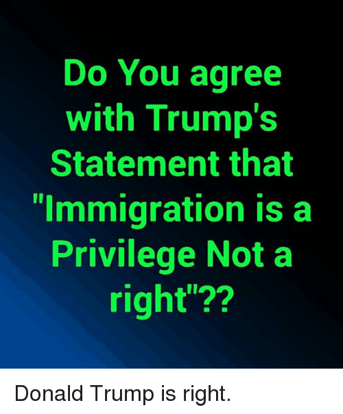 "Donald Trump, Memes, and Immigration: Do You agree  with Trump's  Statement that  ""Immigration is a  Privilege Not a  right""?? Donald Trump is right."