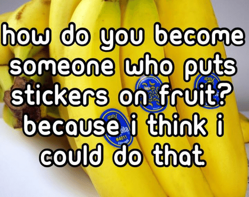 Cou: do you become  how  0  SOmeone who QUtS  0  stickers on fruit?  because i think i  could do that  COU  0