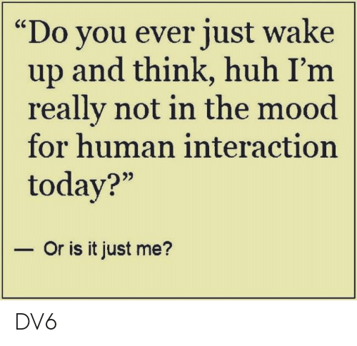 """Huh, Memes, and Mood: Do you ever just wake  up and think, huh I'm  really not in the mood  for human interaction  today?""""  - Or is it just me? DV6"""