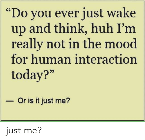 """Huh, Memes, and Mood: """"Do you ever just wake  up and think, huh I'm  really not in the mood  for human interaction  today?""""  - Or is it just me? just me?"""
