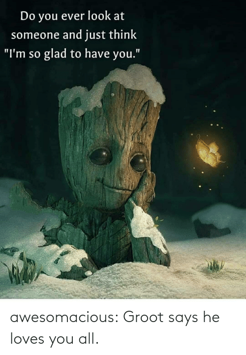 "He Loves: Do you ever look at  someone and just think  glad to have you.""  ""I'm so awesomacious:  Groot says he loves you all."