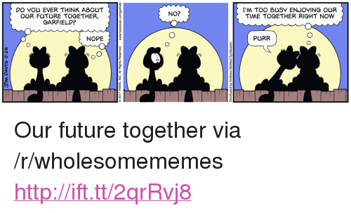 "No Nope: DO YOU EVER THINK ABOUT  OUR FUTURE TOGETHER,  GARFIELD?  I'M TOO BUSY ENJOYING OUR  TIME TOGETHER RIGHT NOW  NO?  NOPE  PURR <p>Our future together via /r/wholesomememes <a href=""http://ift.tt/2qrRvj8"">http://ift.tt/2qrRvj8</a></p>"