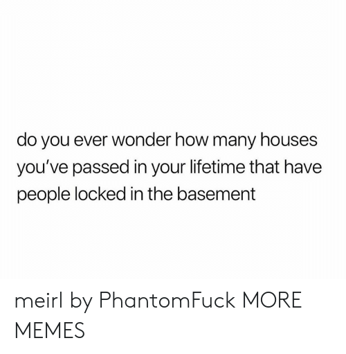 Lifetime: do you ever wonder how many houses  you've passed in your lifetime that have  people locked in the basement meirl by PhantomFuck MORE MEMES