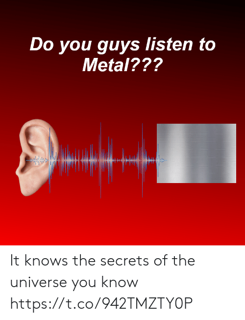 Metal, Universe, and Secrets: Do you guys listen to  Metal??? It knows the secrets of the universe you know https://t.co/942TMZTY0P