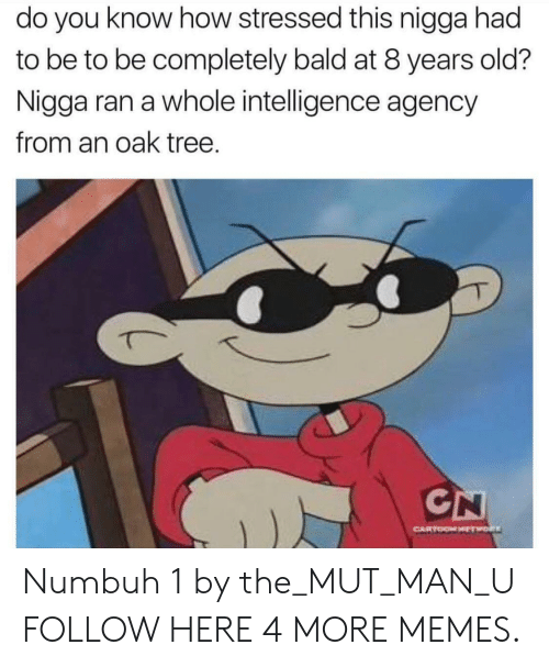 man u: do you know how stressed this nigga had  to be to be completely bald at 8 years old?  Nigga ran a whole intelligence agency  from an oak tree.  CN  CARTOONPT Numbuh 1 by the_MUT_MAN_U FOLLOW HERE 4 MORE MEMES.