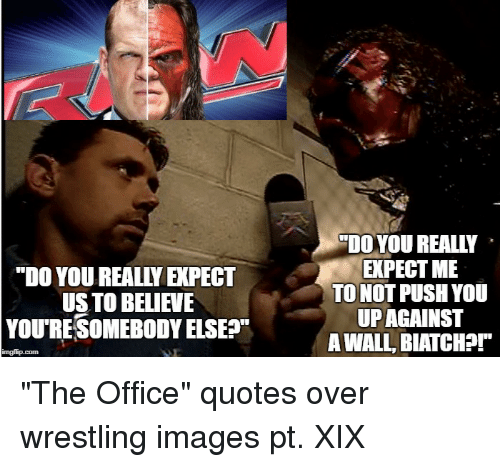 """the office quotes: """"DO YOU REALLY EXPECT  US TO BELIEVE  YOURESOMEBODY ELSES""""  """"DOYOU REALLY  EXPECT ME  TO NOT PUSH YOU  UPAGAINST  A WALL, BIATCH?r"""