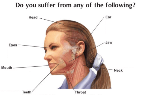 You Suffer: Do you suffer from any of the following?  Head  Ear  Jaw  Eyes  Mouth  Neck  Teeth  Throat