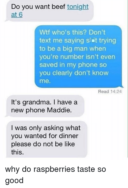 Dont Text Me: Do you want beef tonight  at 6  Wtf who's this? Don't  text me saying s Et trying  to be a big man when  you're number isn't even  saved in my phone so  you clearly don't know  me.  Read 14:24  It's grandma. have a  new phone Maddie.  I was only asking what  you wanted for dinner  please do not be like  this why do raspberries taste so good