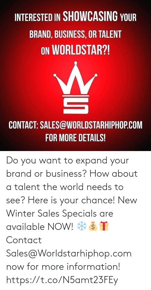 worldstarhiphop: Do you want to expand your brand or business? How about a talent the world needs to see? Here is your chance! New Winter Sales Specials are available NOW! ❄💰🎁 Contact Sales@Worldstarhiphop.com now for more information! https://t.co/N5amt23FEy