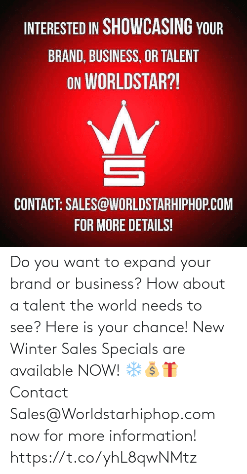 worldstarhiphop: Do you want to expand your brand or business? How about a talent the world needs to see? Here is your chance! New Winter Sales Specials are available NOW! ❄💰🎁 Contact Sales@Worldstarhiphop.com now for more information! https://t.co/yhL8qwNMtz