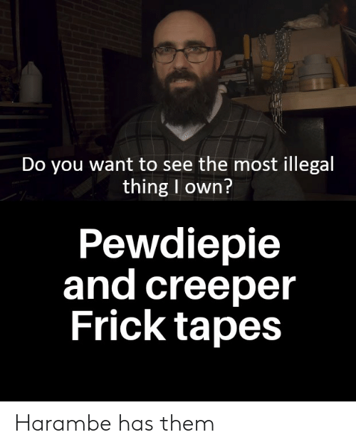 Frick, Harambe, and Own: Do you want to see the most illegal  thing I own?  Pewdiepie  and creeper  Frick tapes Harambe has them