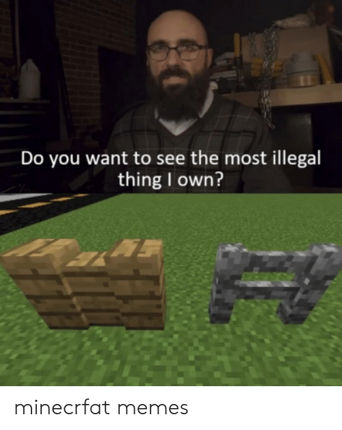 Memes, Minecrfat, and Own: Do you want to see the most illegal  thing I own? minecrfat memes