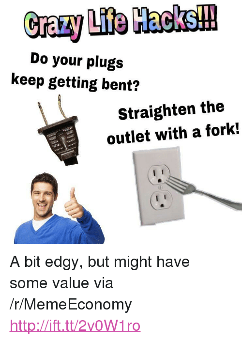 """Http, Edgy, and Via: Do your plugs  keep getting bent?  Straighten the  outlet with a fork! <p>A bit edgy, but might have some value via /r/MemeEconomy <a href=""""http://ift.tt/2v0W1ro"""">http://ift.tt/2v0W1ro</a></p>"""