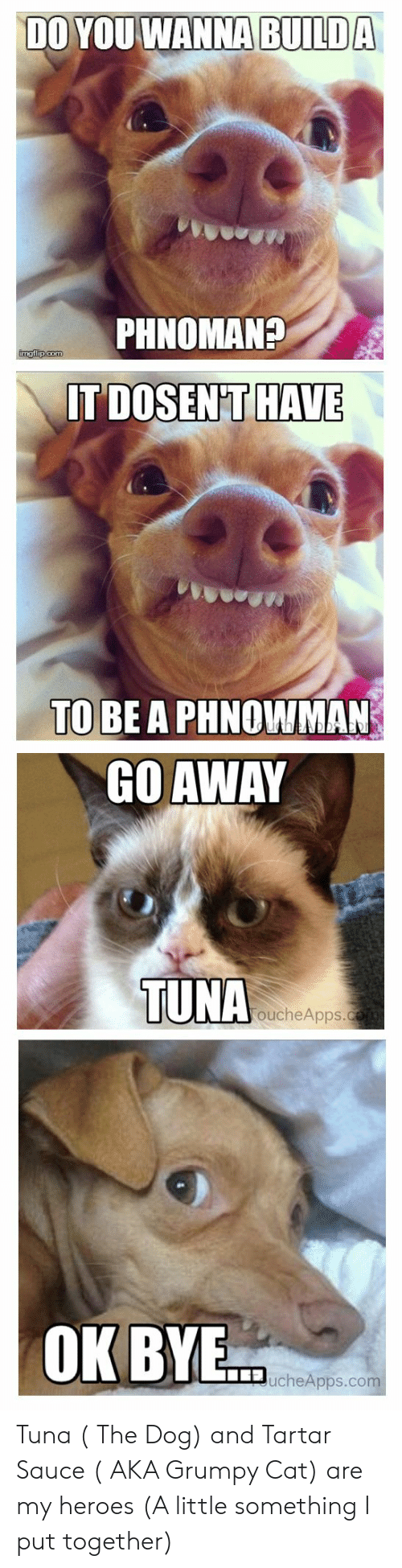 Grumpy Cat, Heroes, and Sauce: DO YOUWANNA  BUILDA  PHNOMAN?  DOSENFT HAVE  TO  BE A PHNOWMAN  GO AWAY  TUNA  oucheApps.  OKBYE  ucheApps.co Tuna ( The Dog) and Tartar Sauce ( AKA Grumpy Cat) are my heroes (A little something I put together)