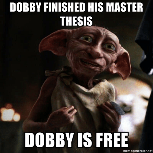 Free, Net, and Master: DOBBY FINISHED HIS MASTER  THESIS  DOBBY IS FREE  memegenerator.net