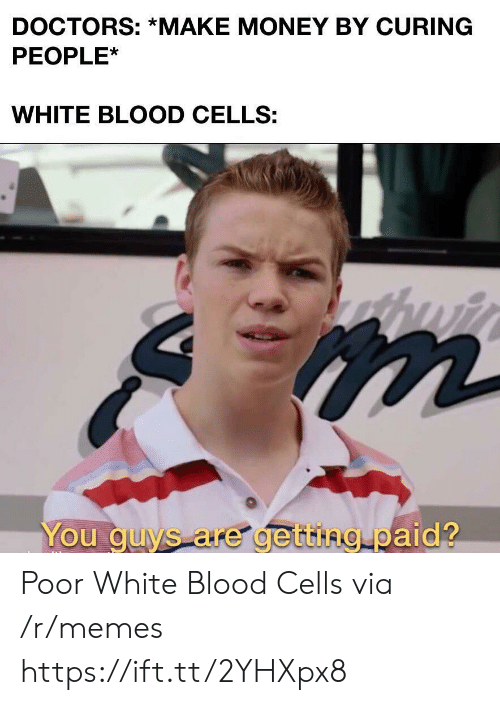 Make Money: DOCTORS: *MAKE MONEY BY CURING  PEOPLE*  WHITE BLOOD CELLS:  You guys are getting paid? Poor White Blood Cells via /r/memes https://ift.tt/2YHXpx8