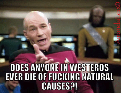 Westero: DOES ANYONE IN WESTEROS  EVER DIE OF FUCKING NATURAL  CAUSES?!