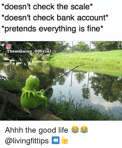"""Scaling: *doesn't check the scale*  *doesn't check bank account*  pretends everytning is fine""""  ThemGainz Official Ahhh the good life 😂😂 @livingfittips ⏪👍"""