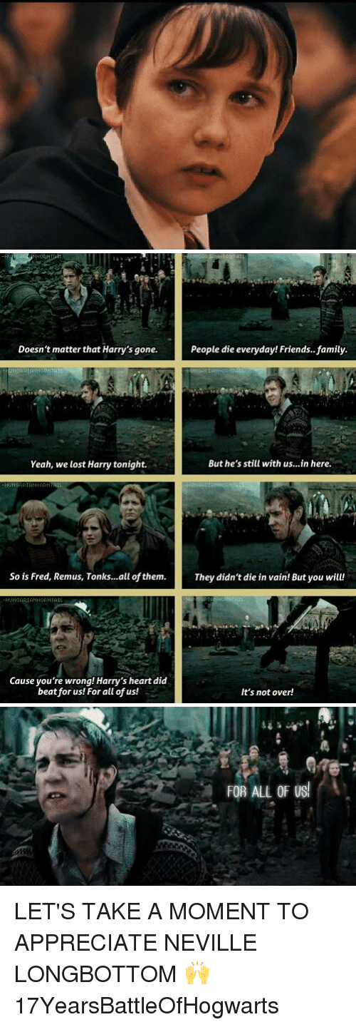 Neville Longbottomed: Doesn't matter that Harry's gone. People die everyday! Friends.. family.  HUNGARIAH  But he's still with us...in here.  Yeah, we lost Harry tonight.  So is Fred, Remus, Tonks...all of them. They didn't die in vain! But you will!  HUNGARIAN HORNTAIL  Cause you're wrong! Harry's heart did  beat for us! For all of us!  It's not over!   FOR ALL OF US LET'S TAKE A MOMENT TO APPRECIATE NEVILLE LONGBOTTOM 🙌 17YearsBattleOfHogwarts