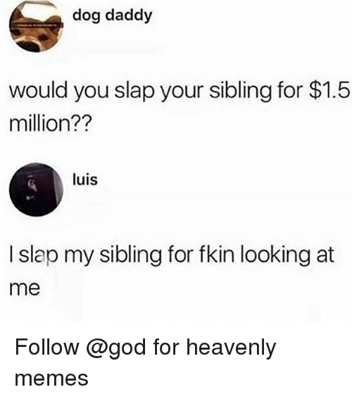 heavenly: dog daddy  would you slap your sibling for $1.5  million??  luis  I slap my sibling for fkin looking at  me Follow @god for heavenly memes
