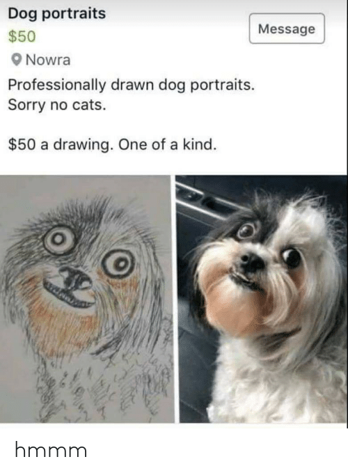 No Cats: Dog portraits  s50  Nowra  Professionally drawn dog portraits.  Sorry no cats.  Message  $50 a drawing. One of a kind hmmm