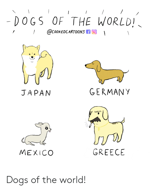 Mexico: - DOGS OF THE WORLD!  @COOKEDCARTOONS  GERMANY  JAPAN  GREECE  MEXICO Dogs of the world!